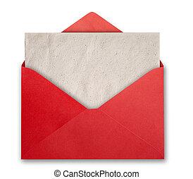封筒, 赤, 空, card.
