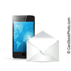 封筒, 電話, デザイン, イラスト