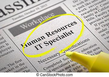 専門家, それ, 空き, 人間, 新聞。, 資源