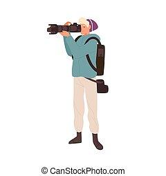専門家, カメラマン, 長い間, 若い, フォトジャーナリスト, ベクトル, 平ら, 望遠レンズ, photo., イラスト, lens., レポーター, 漫画, 隔離された, カメラ, 写真うつりする, フォーカス, 白い男性, 取得