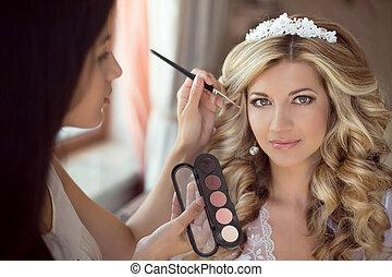 専門家, スタイリスト, 作り, 構造, 花嫁, 上に, ∥, 結婚式, day., 美しい, 微笑, ブロンド, 女, ∥で∥, 長い間, 巻き毛の髪, style.