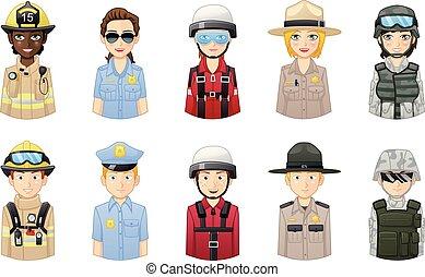 専門家, セット, 救出, 人々, -, avatars, 安全