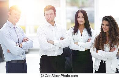 専門家, ビジネス チーム, 地位, 中に, オフィス
