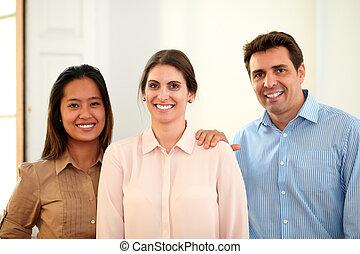専門家, ビジネス チーム, 微笑, ∥において∥, あなた