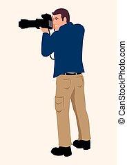 専門家, レンズ, カメラ, dslr, 使うこと, 人, tele