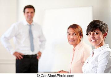 専門家, 微笑, 経営者, グループ, あなた