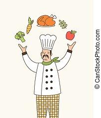 専門家, 漫画, シェフ, 白, 料理, ジャケット, レストラン, illustration., 食物, シェフ, 夢のようである, expert., 帽子, アウトライン, 食通, 熟練した, character., ジャッグルする, 才能がある, コック, employee., ベクトル
