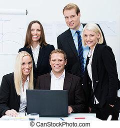 専門家, 熱心, ビジネス チーム