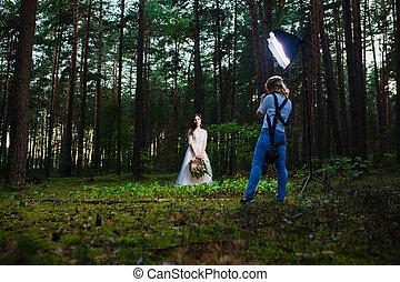 専門家, 結婚式, カメラマン, 使うこと, ストロボ, そして, softbox, 作るため, 映像