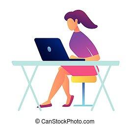 専門家, illustration., 仕事, ラップトップ, それ, ベクトル, 女性, ポニーテール