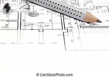 専門的な鉛筆, 背景, 建築である, 図画
