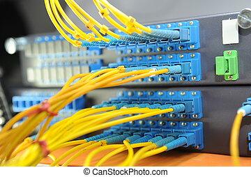 射击, 在中, 网络, 电缆, 同时,, 服务器, 在中, a, 技术, 数据中心