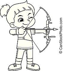 射手, ターゲット, 女の子, bw, 狙いを定める