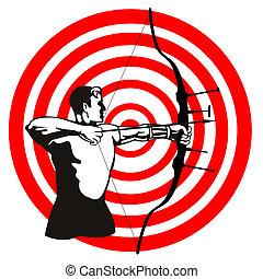 射手, ターゲット, 矢, 弓