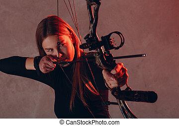 射手, 女, 目標, 矢, ターゲット, 弓