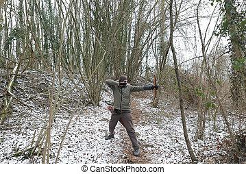 射手, 森林, 雪が多い