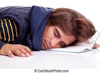 射擊, 書, 年輕, 被隔离, 睡著, 白色, 工作室, 躺, 人