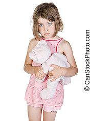 射擊, ......的, a, 悲哀, 白膚金髮, 孩子, 藏品, 她, 玩具熊