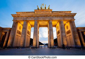 射擊, brandenburg, tor), 柏林, 夜晚, 門, (brandenburger