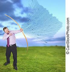 射箭, 实践, 领域, 绿色的背景, 商人