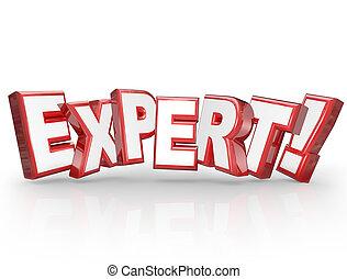 專家, 3d, 詞, 專業人員, 經驗, 專門技能, 技能