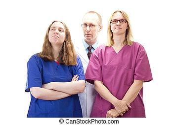 專業人員, 醫學的醫生, 隊, 等待, 為, 其次, 病人
