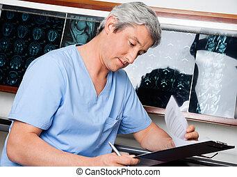 專業人員, 醫學, 去, 透過, 文件