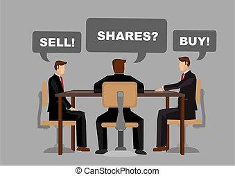 尋ねなさい, 別, 得なさい, 株, について, answers., ビジネスマン, 漫画, 彼の