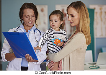 對醫生的存取, 辦公室, 小女孩, 由于, 媽媽
