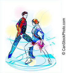 對, 圖, skating., 冰, 給予