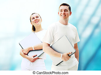 對, ......的, 二, 愉快, 年輕人, 或者, 學生, 由于, 筆記本電腦, 上, the, 事務, 背景