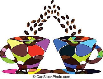 對, ......的, 杯子, ......的, 咖啡