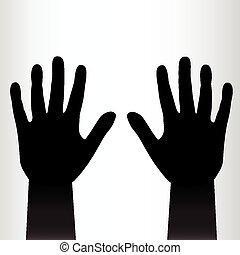 對, ......的, 黑色, 手, 背景。
