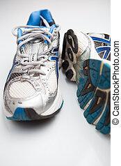 對, 跑, 白色的鞋, 背景
