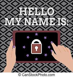 導入, 名前, ビジネス 人々, 写真, 提示, 執筆, 概念, 呼出し, is., ほしい, 他, showcasing, あなた, 手, 私, こんにちは, 自分自身