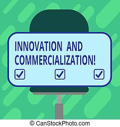 導入, 旋回装置, ビジネス, commercialization., モデル, 写真, ステッカー, 革新, プロダクト, 執筆, showcasing, 形, 長方形, chair., ブランク, 概念, 新しい, 手, 商業, 提示