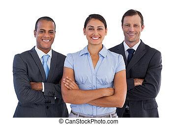 小さいグループ, の, 微笑, ビジネス 人々, 地位, 一緒に