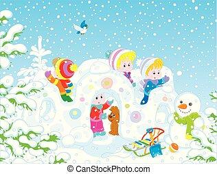 小さい子供たち, 雪, 要塞, 遊び
