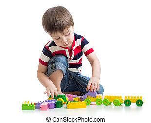 小さい子供, ∥で∥, コンストラクションセット, 上に, 白, backgroun