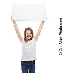 小さい子供, 板, 保有物, ブランク, 微笑, 白