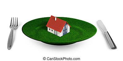 小さい家, プレート, 草, 概念