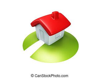 小さい家, 象徴的, render, 3d