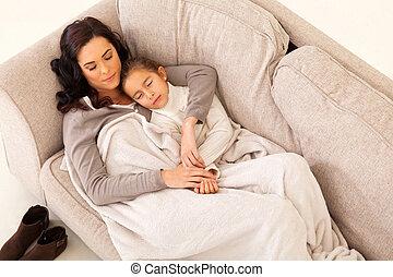 小さい母, 女の子, 彼女, 睡眠