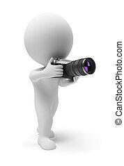 小さい, カメラマン, 3d, -, 人々