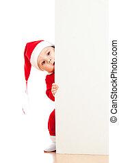 小さい, サンタクロース, 子供, 見る, 後ろ から, ∥, プラカード, ∥あるいは∥, 旗