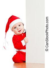 小さい, サンタクロース, 子供, 見る, 後ろ から, ∥, プラカード