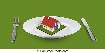 小さい, テーブル, 家, 位置を定められた, 白い版, 緑, 概念