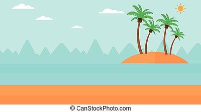 小さい, トロピカル, island., 背景