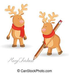 小さい, ベクトル, reindeers