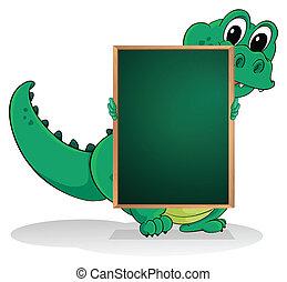 小さい, ワニ, 背中, 空, greenboard
